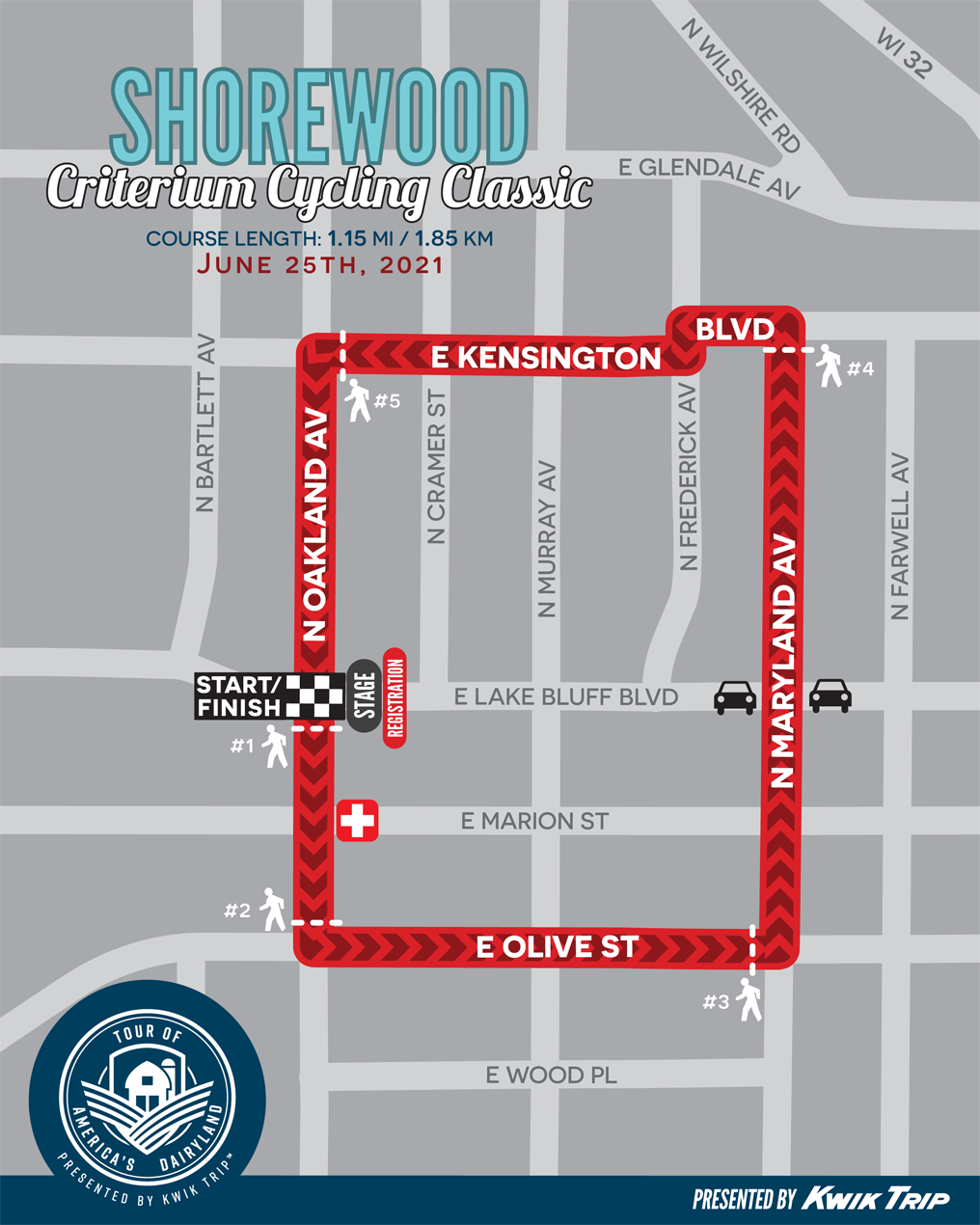Shorewood Criterium Cycling Classic Race Map